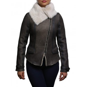 Vintage Womens Classic Shearling Sheepskin Real Leather Biker Jacket