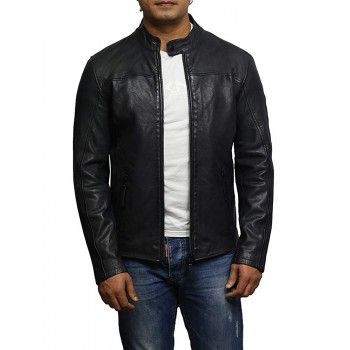 Mens Leather Jacket Genuine Lambskin Waxed Distressed Vintage Retro