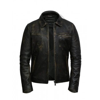 Mens Leather Jacket Genuine Cow Hide Leather Rubboff