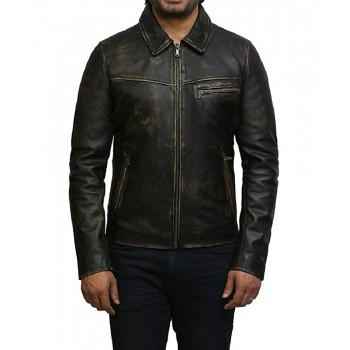 Mens Leather Jacket Genuine Cow Hide Leather Rubb Off