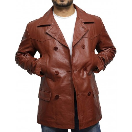 Mens Real Leather World War 2 German Military U Boat Captains Jacket Military Style Real Vintage