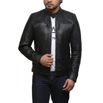 Mens Genuine Leather Biker Jacket Sheepskin Vintage