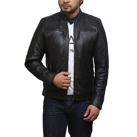 Mens Genuine Leather Biker Jacket Sheepskin Vintage