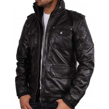 Men's Brown Leather Biker Jacket - Memphis