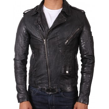 Men's Leather Biker Jacket in Black Croc - Brando