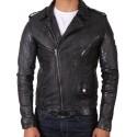 Men's Leather Biker Jacket Croc Black - Zack