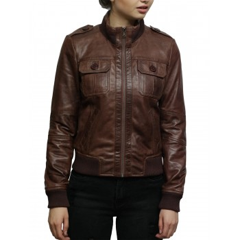 Ladies Leather Jacket Bomber Slim Fit Style