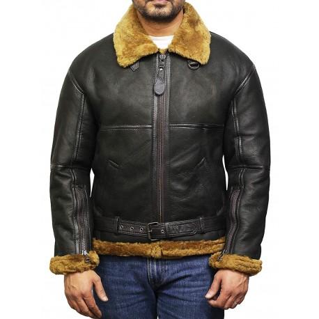 Mens Aviator Shearling Sheepskin Bomber Leather Flying jacket