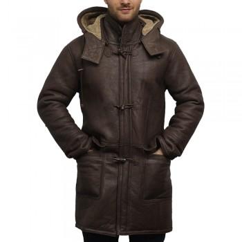 Herre Duffle Coat Ekte Leather Med Saueskinn