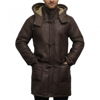 Mens Shearling Sheepskin Genuine Leather Duffle Coat