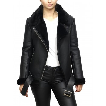Women's Black Shearling Sheepskin Pilot Aviator Fur-lined Leather jacket