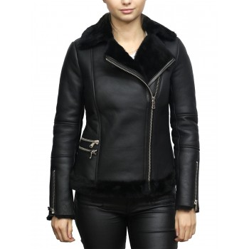 Women's Black Merino Sheepskin Aviator Pilot  Leather Jacket