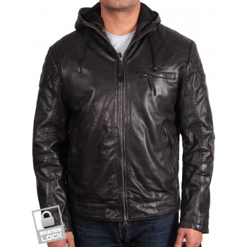 Men's  Leather Bomber Jacket Black - Majento