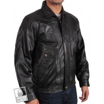 Men's Black Leather Bomber Jacket - Marvel