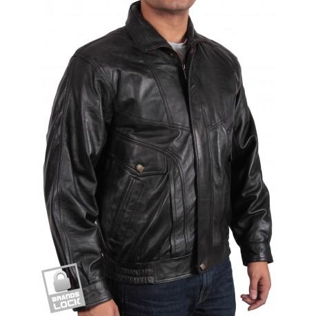Men's Black Leather Bomber Jacket - Marvel