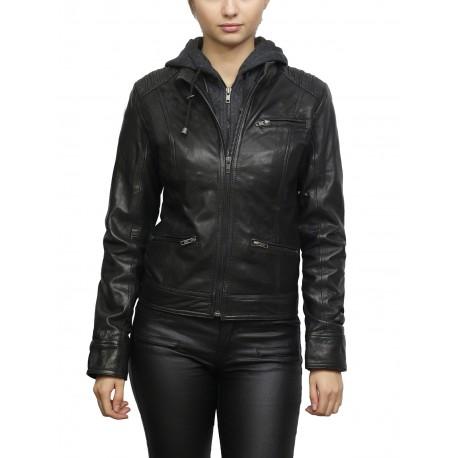Women's Black Short Biker Nappa Leather Jacket