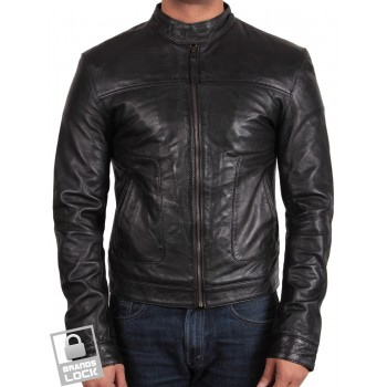Men's Leather Bomber Jacket  Black - Mushy