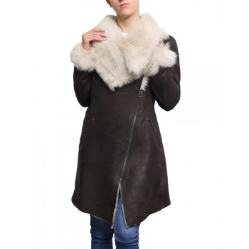 Ladies Women Smart Winter Warm Shearling sheepskin Hooded Duffle Coat- Inami