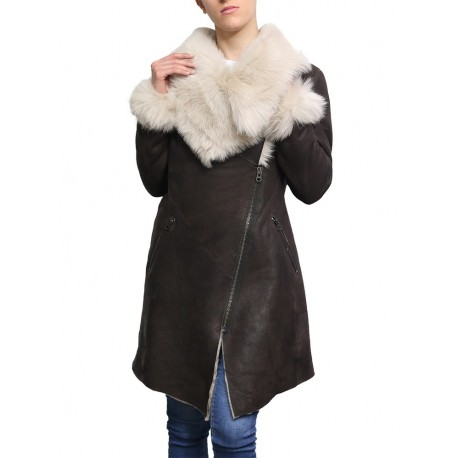 Ladies Women Smart Winter Warm Shearling sheepskin Hooded Duffle Coat- Inami