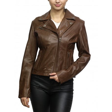 Women Red Leather Biker Jacket _ Jermyn