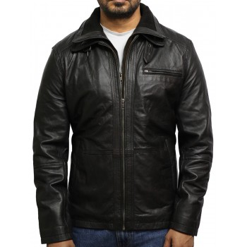 Men's Medial-Length Black Napa Leather Jacket