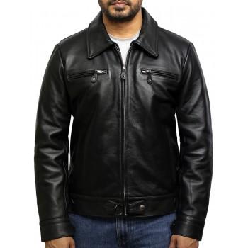 Men's Medial-Length Black Napa Leather Jacket