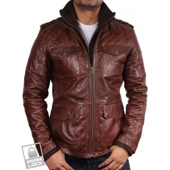 Men's Brown Leather Bomber Jacket - Warwick