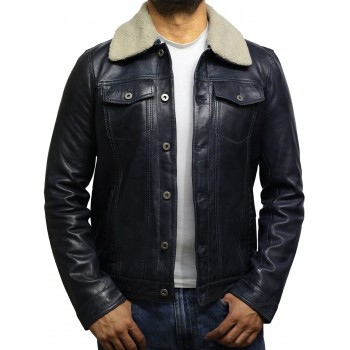 Men's Trucker Black Detachable Collar Coat