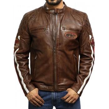 Men's Leather Biker Jacket Burgundy - Cary