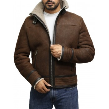 Men's Genuine Shearling Sheepskin Spanish Merino Leather Jacket Vintage