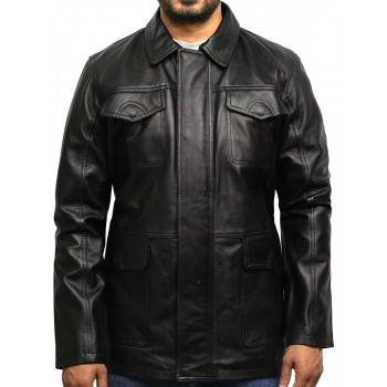 Men's Black Quilted Reefer Jacket