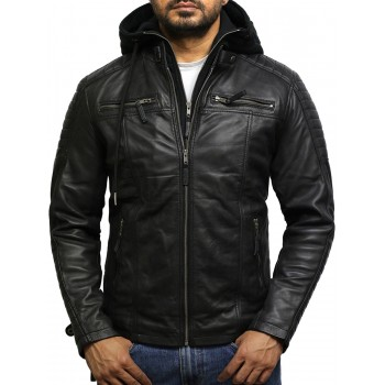 Men's Black Leather Hooded Jacket - Cigar
