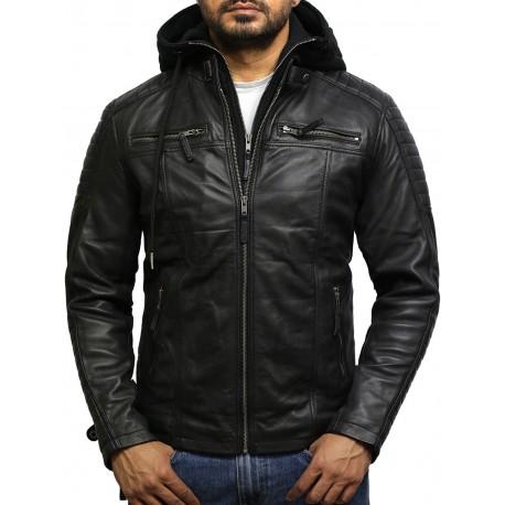 Men's Black Leather Hooded Jacket - Cigar