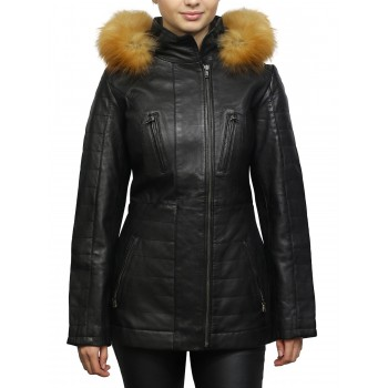 Women's Black Leather Parka Mid-Length Quilted Removable Hooded Trench Coat