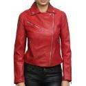 Women Red Leather Biker Jacket _ Jermyn