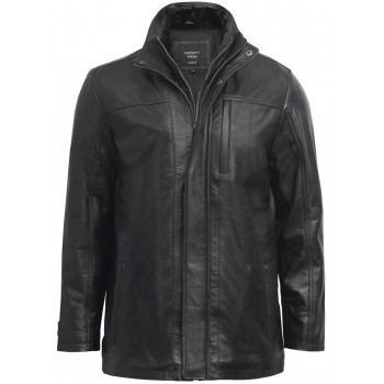 Mens Leather Biker Parka Jacket Coat Designer style-Finn