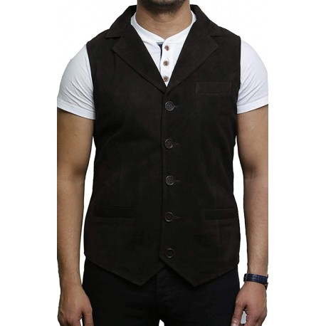 Mens Leather Waistcoat From Smooth Exclusive Goat Suede Classic Smart Leather