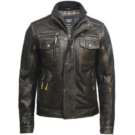 Mens Vintage Washed Black Biker Jacket -Hugo