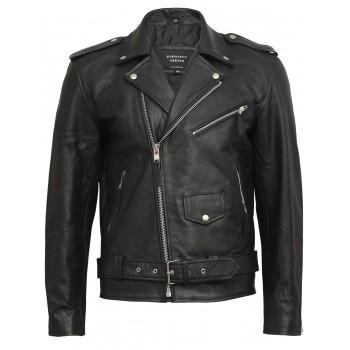 Mens Leather Biker Jacket Genuine Brando Leather