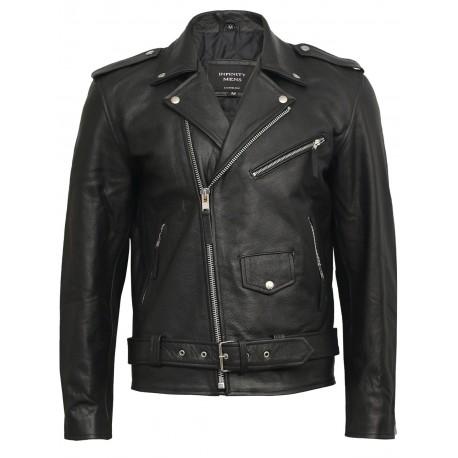 Men's Black Leather Biker Jacket in HIDE - Brando