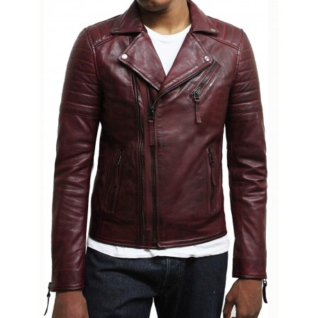 Mens Black Biker Leather Jacket Stylish ziped Look -Grady