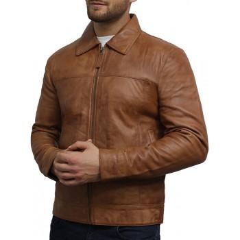 Mens Leather Jacket Genuine Lambskin Harrington