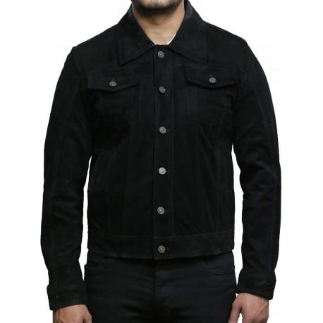 Brandslock Men's Leather Biker Jacket Trucker Casual Green Goat Suede Leather Shirt Denim Jeans Style