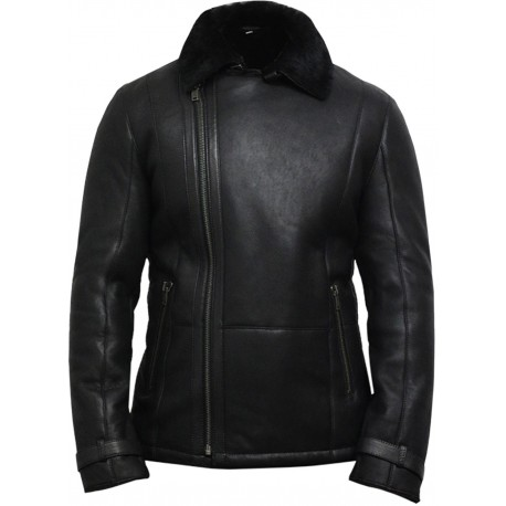 Men's Black shearling sheepskin jacket - Fay