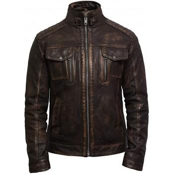 Mens Brown Biker Lather Jacket-Allan