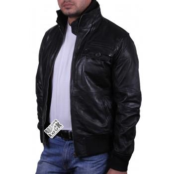 Men's Leather Bomber Jacket Black - Falcon