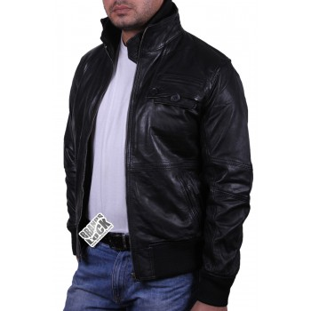 Mens Leather Bomber Jacket Genuine Leather