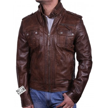 Men's Leather Bomber Jacket  Brown - Damz