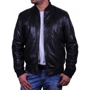 Men's Leather Bomber Jacket Black - Detroit
