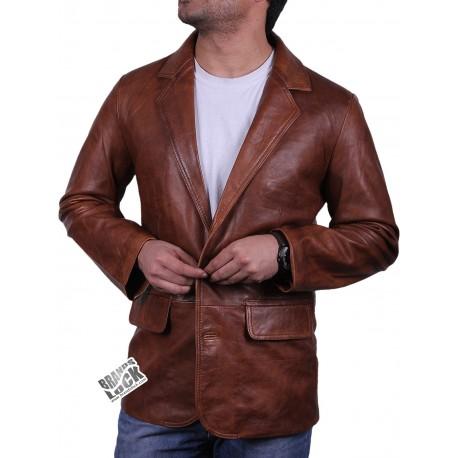 Men's Black Leather Blazer - Nicolas